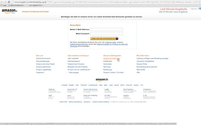 Gefälschter Internet-Auftritt von Amazon