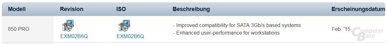 Die betroffene Firmware auf Samsungs Download-Portal