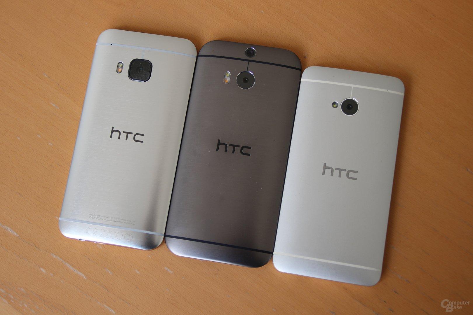 v.l.n.r.: HTC One M9, One (M8) und One