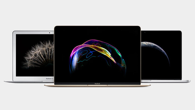 Apple MacBook Air, neues MacBook, MacBook Pro (v.l.n.r.)