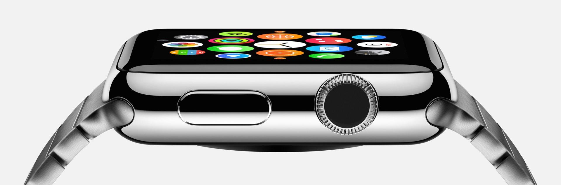 Apple Watch in der Seitenansicht mit digitaler Krone