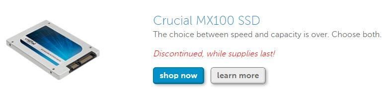 Crucial MX100 nur noch als Restbestand