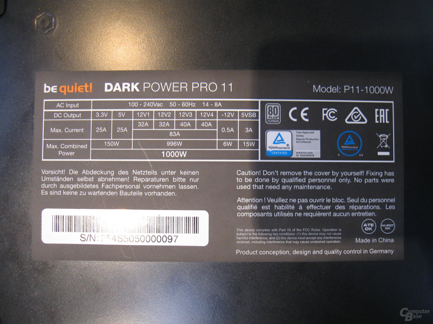 be quiet! Dark Power Pro P11 – Technische Daten