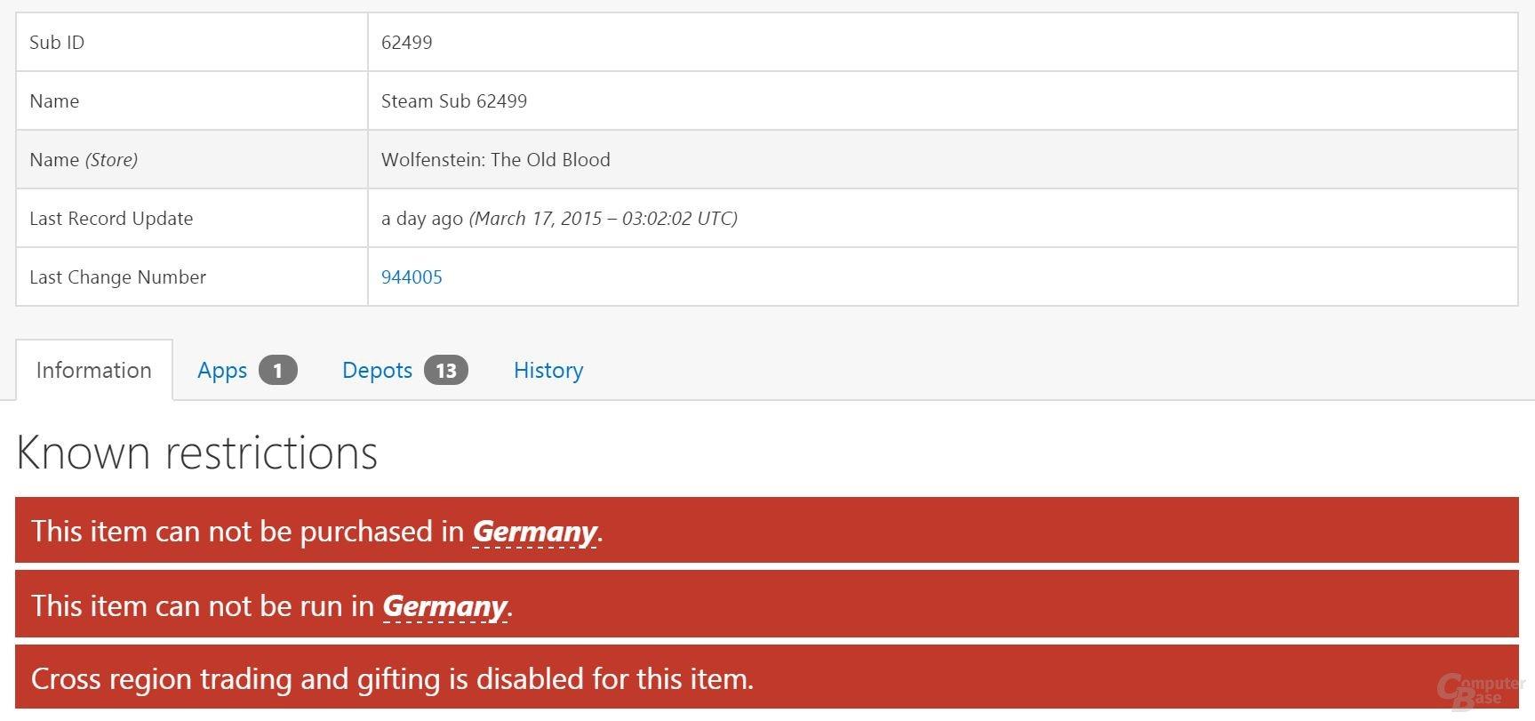 In Deutschland muss die deutsche Version von Wolfenstein gespielt werden