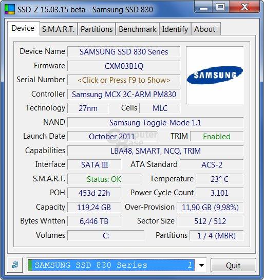 SSD-Z zeigt Informationen über SSDs an