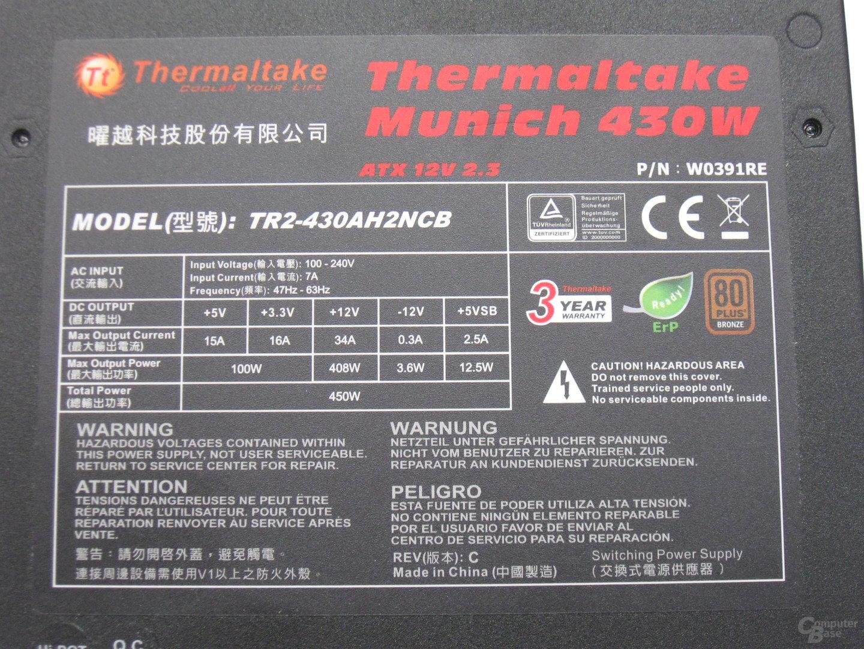 Thermaltake Germany-Serie – Technische Daten