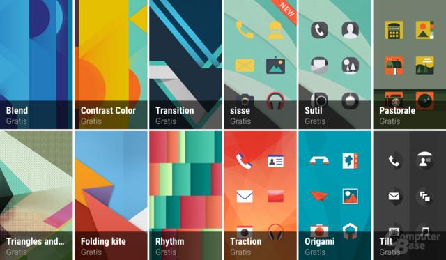 Themes-App mit Hintergründen, Icons, Tönen und Schriftarten