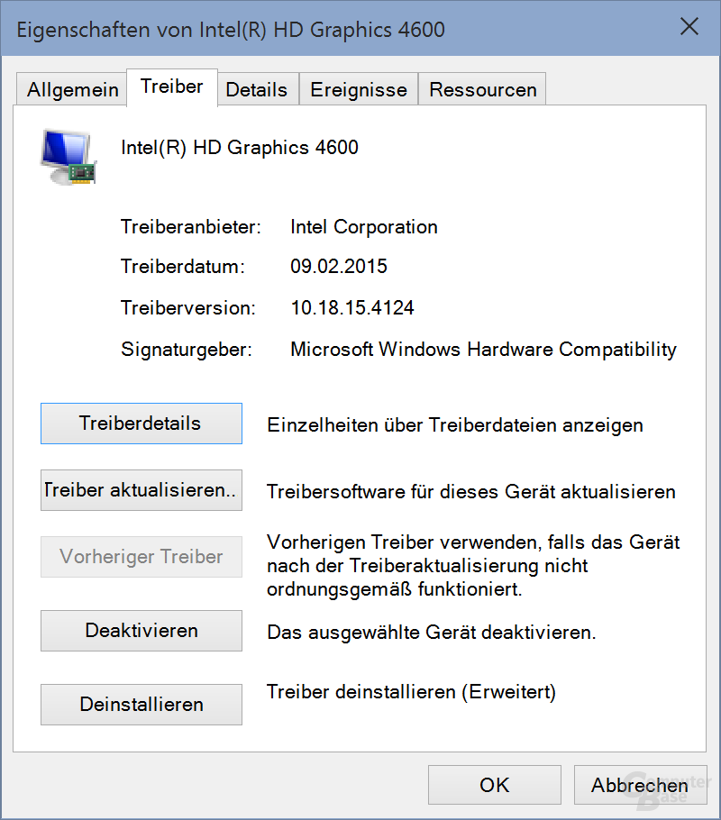 Der Intel-Treiber per Windows-Update