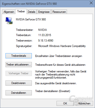Der Nvidia-Treiber per Windows-Update