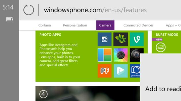 Windows 10 Mobile: Project Spartan fürs Smartphone hat die Adressleiste oben