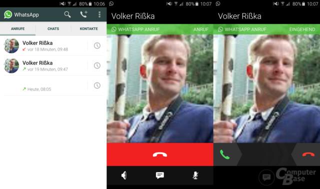 Neue Benutzeroberfläche / Ausgehender und eingehender Anruf