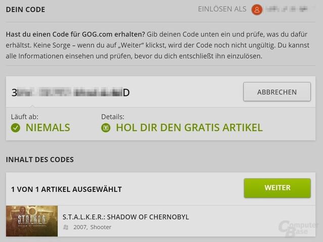Das Vorgehen ist simpel: CD-Schlüssel eingeben, Spiel DRM-frei herunterladen