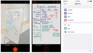 Whiteboard-Aufnahme vor und nach der Bearbeitung durch Office Lens und Export-Funktionen