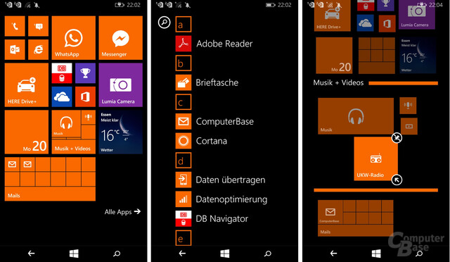 Homescreen, App-Liste und Live Folder