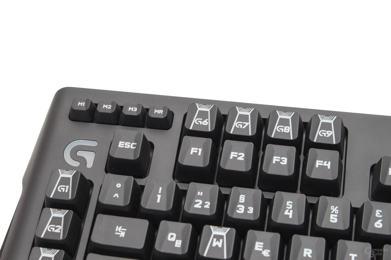 Makro-Tasten sowie Buttons zur Wahl der drei Ebenen eines jeden Profils, Makro-Schnellaufnahme