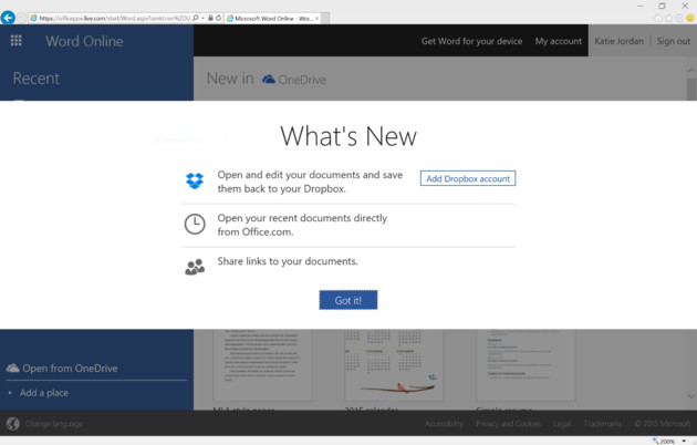 Dropbox-Konto in Office Online hinzufügen