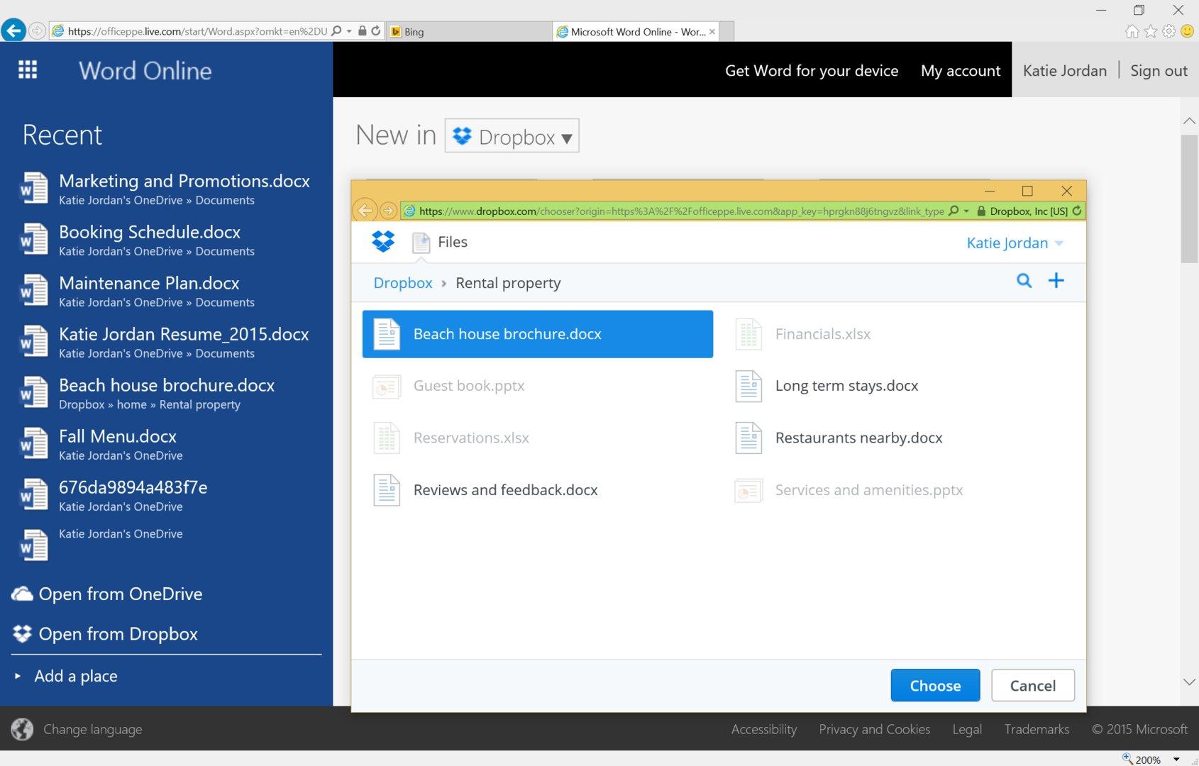 Dateien aus Dropbox in Office Online öffnen