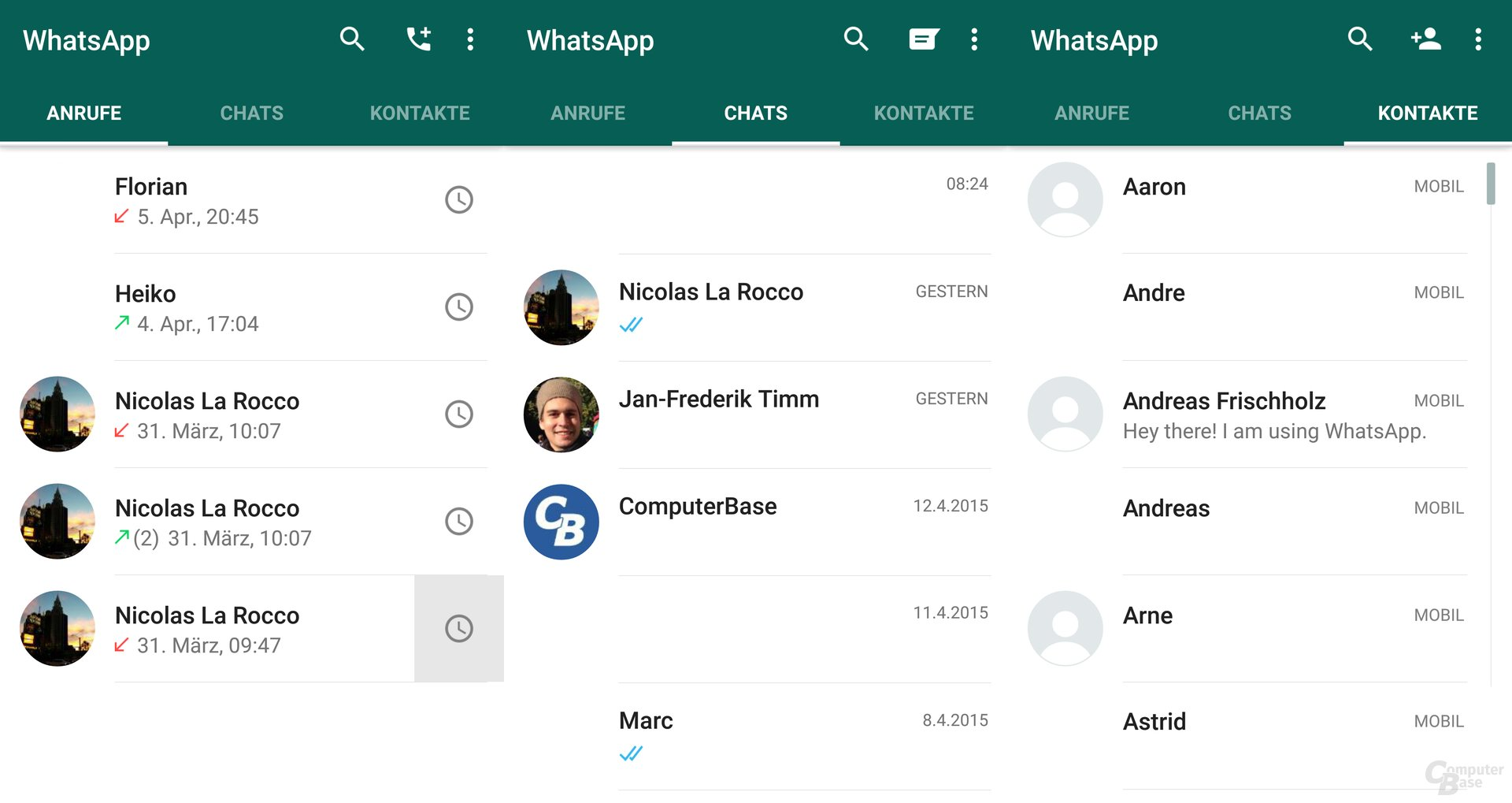 WhatsApp mit Material Design
