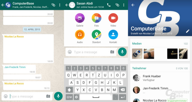 WhatsApp mit Material Design
