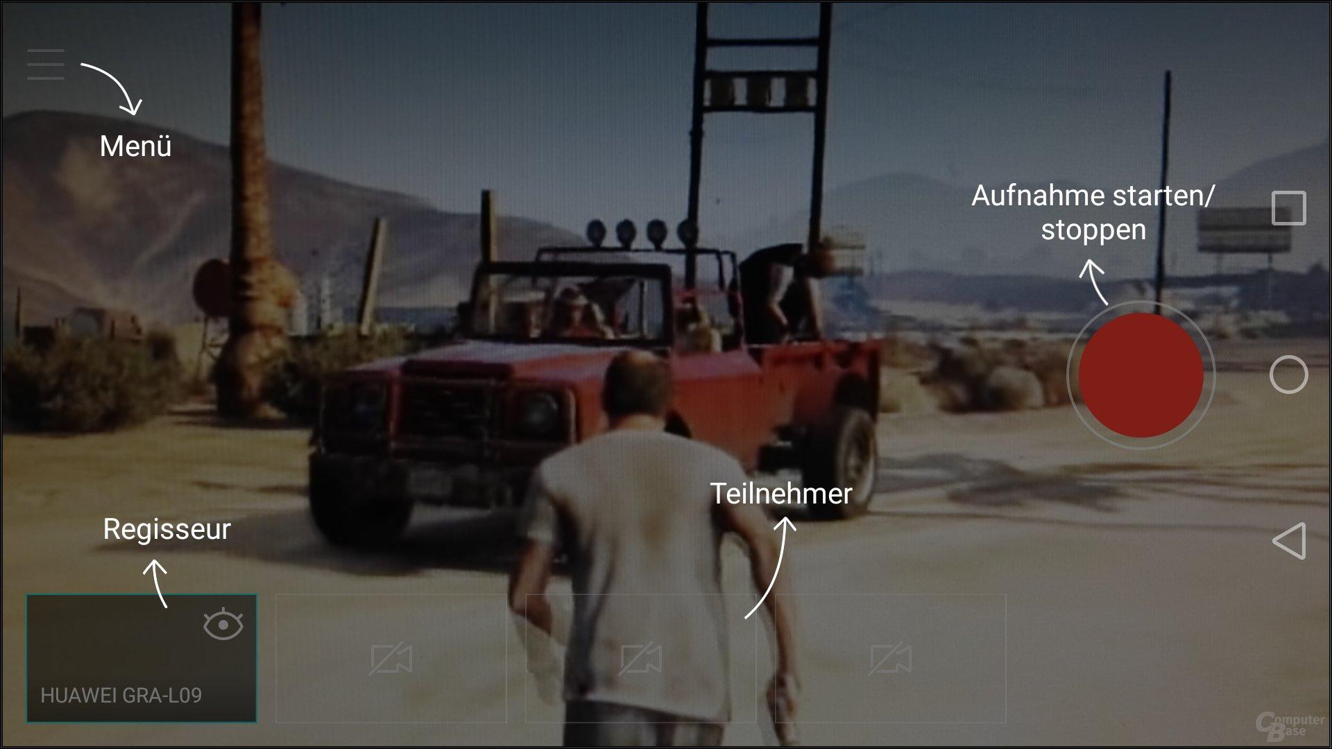 Regisseur-Modus – Startbildschirm