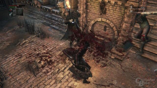 Blut ist überall und benetzt den Spieler sichtbar