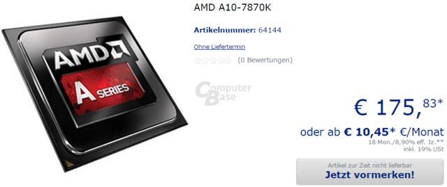 AMD A10-7870K bei ersten Händlern