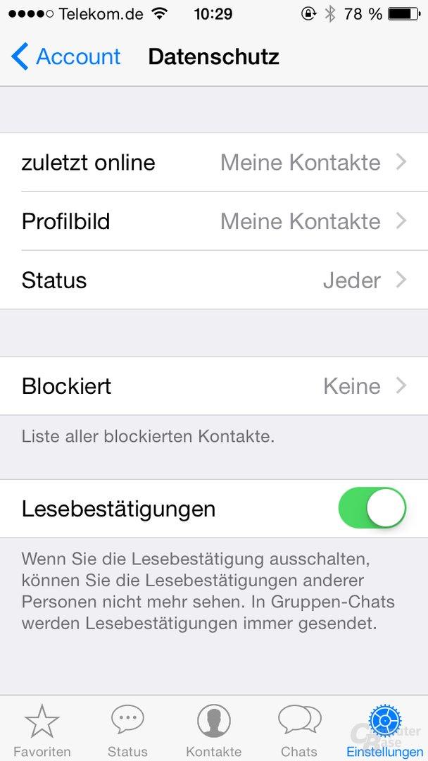 Einstellungen für Lesebestätigungen in WhatsApp unter iOS