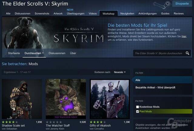 Skyrim ist das erste Spiel, für das Mods kostenpflichtig angeboten werden dürfen
