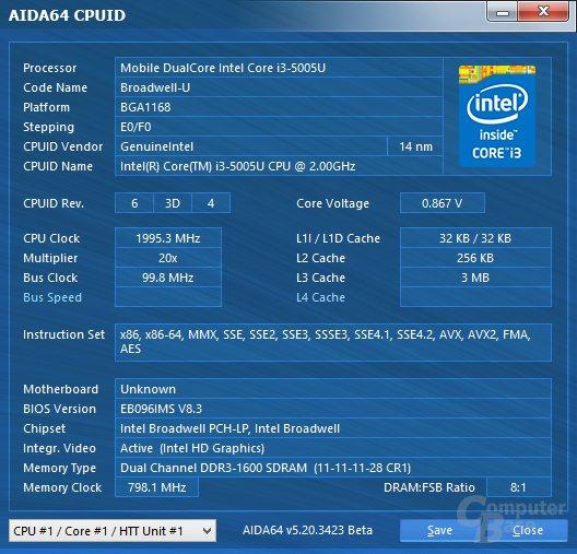 Intel Core i3-5005U im MSI Cubi