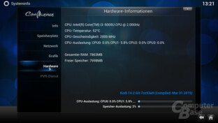 Intel Core i3-5005U in OpenELEC 5.0.8
