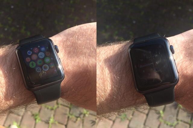 Apple Watch Sport – Ablesbarkeit bei Sonnenlicht mäßig