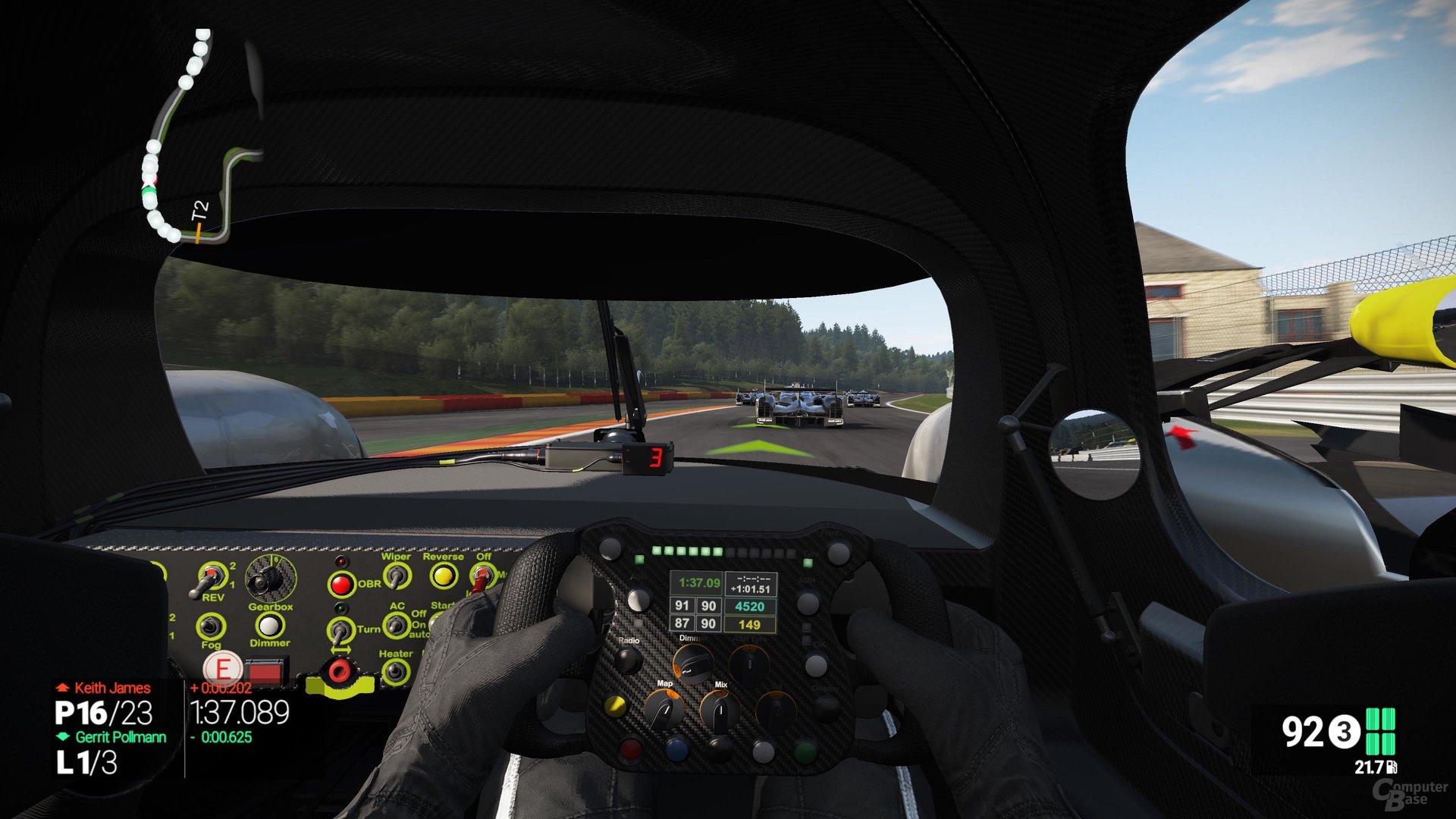 Schlechte Sichtverhältnisse im LMP1-Cockpit