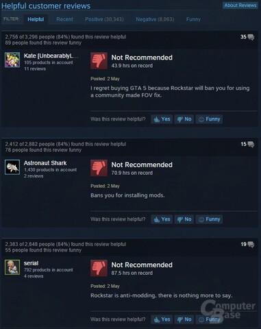 """Die """"hilfreichsten"""" Rezensionen auf Steam kritisieren die Ban-Politik von Rockstar"""