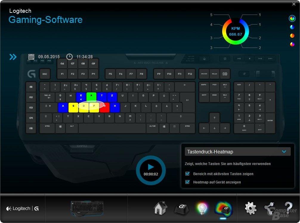 Die Heatmap zur Selbstanalyse kann durch die RGB-LEDs direkt auf der Tastatur abgebildet werden
