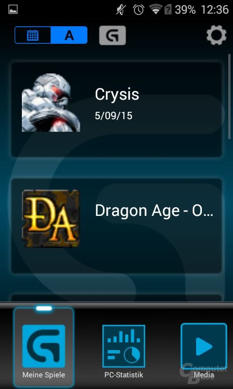 Im ersten Menü können Spiele sowie Profile per Klick gestartet werden