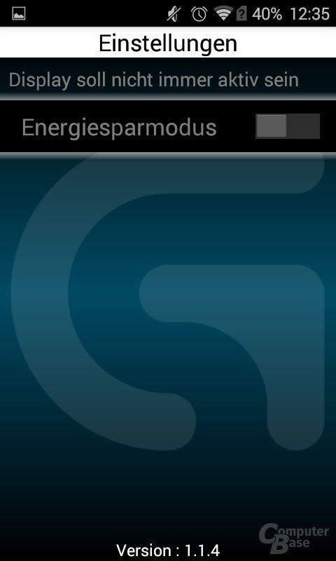 Ein ganzer Menüpunkt versteckt eine Energiesparfunktion