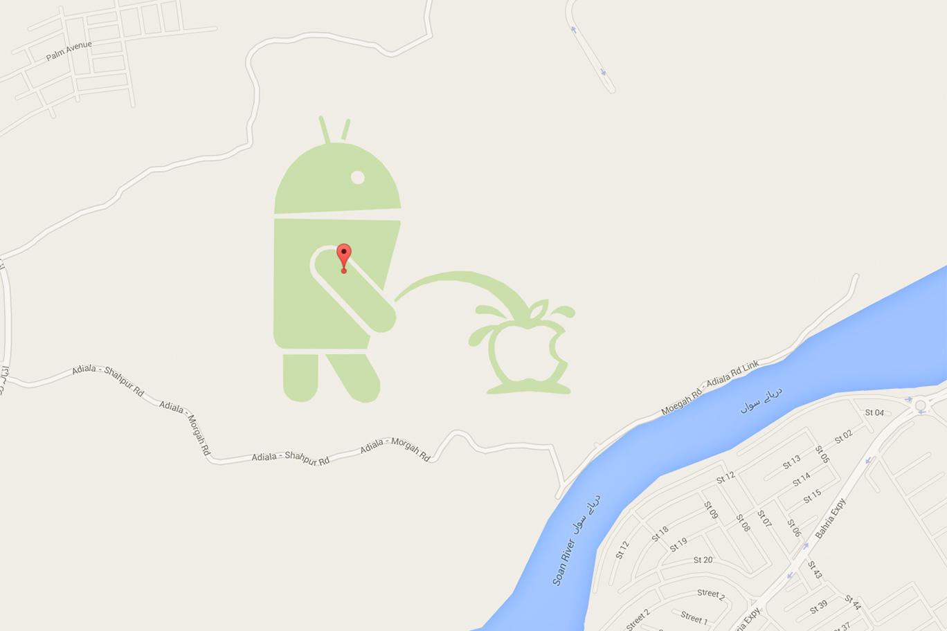 Screenshot des pikanten Streichs in Google Maps