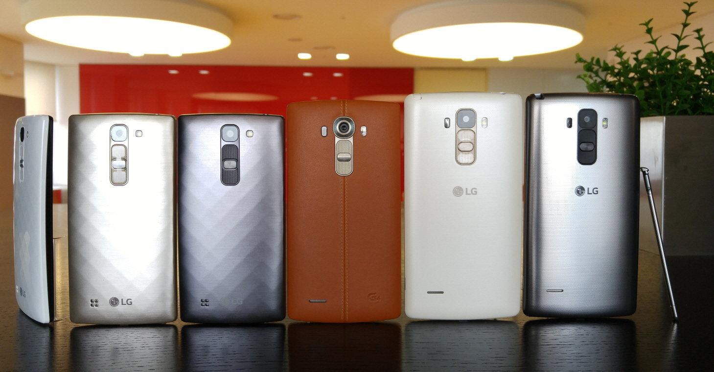 LG G4c (links), G4 (mitte) und G4 Stylus (rechts)