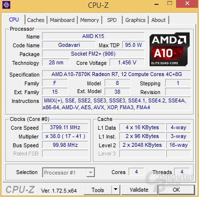 Maximale Last: Auch mal nur 3,8 GHz