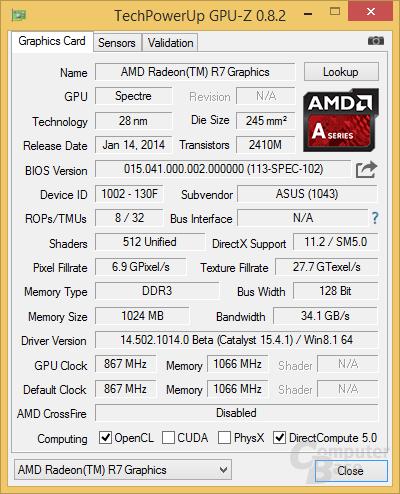 GPU-Z erkennt 867 MHz Takt