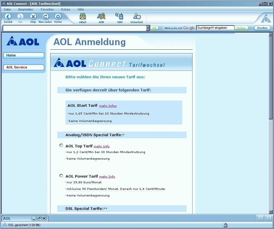 AOL Tarifwechsel