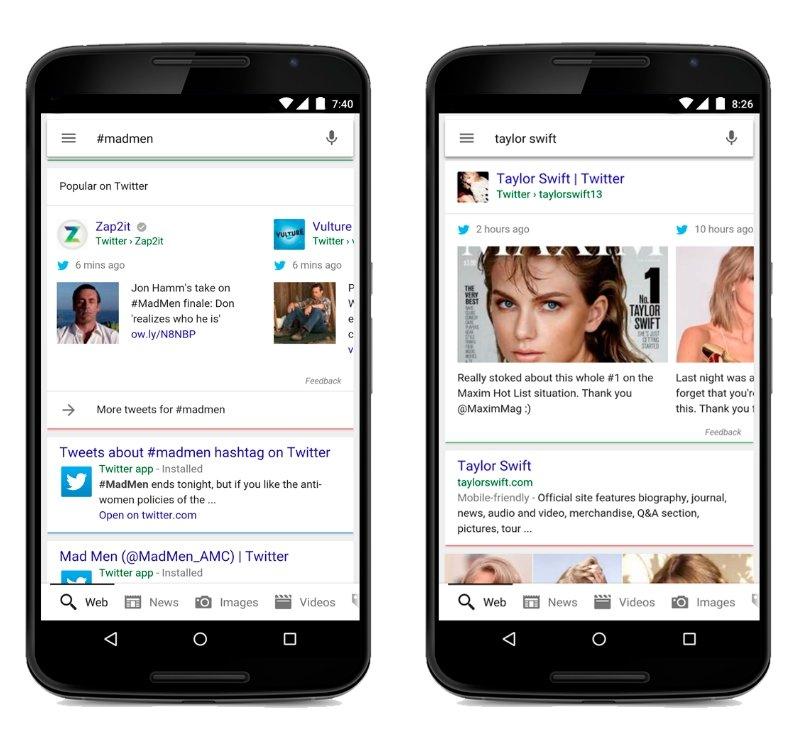 Twitter in Google-Suchergebnissen