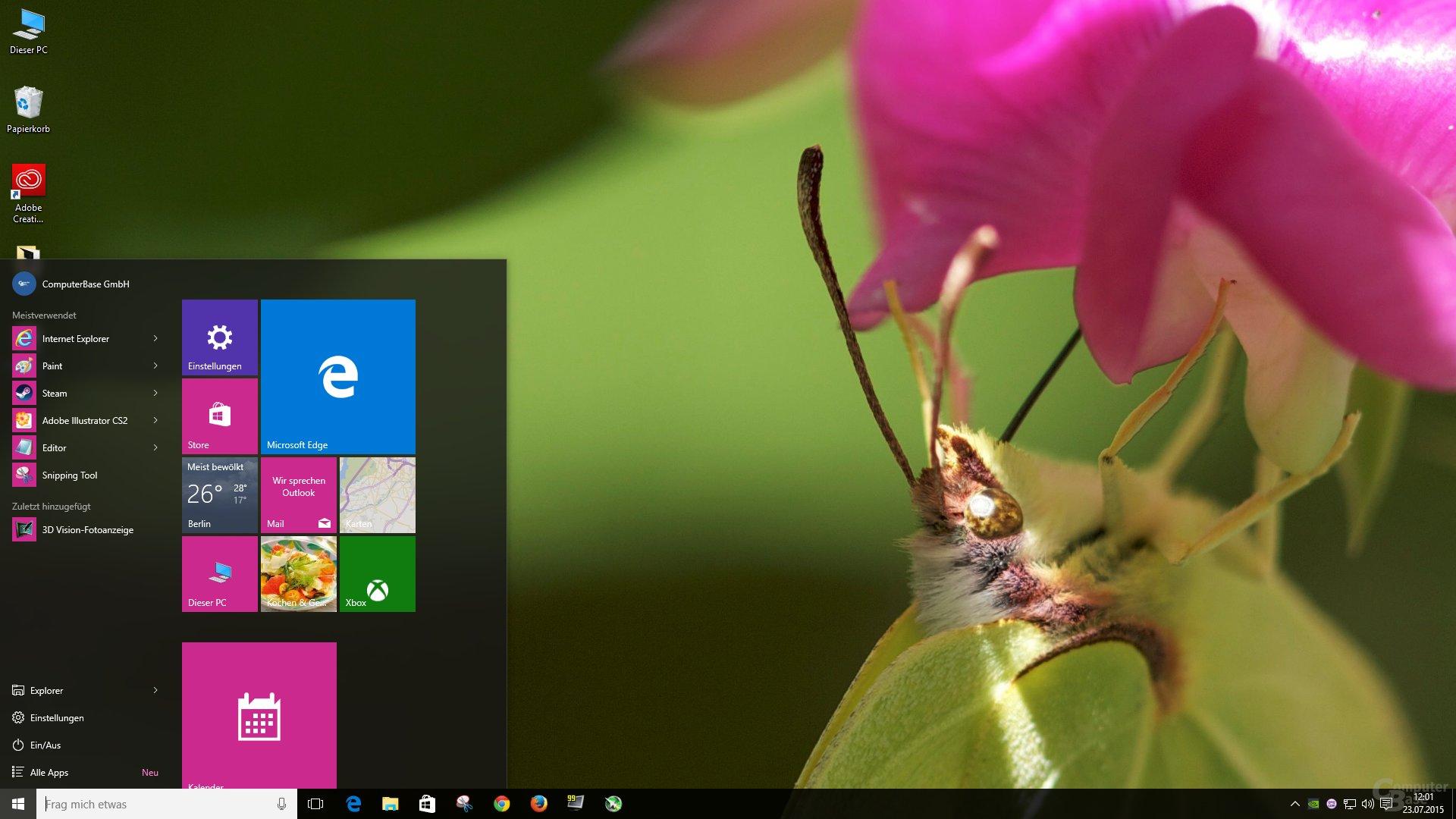 Der neue alte Desktop mit dem Startmenü