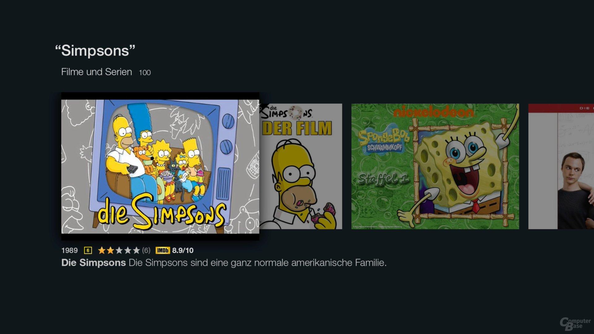 """Amazon Fire TV Stick – Suchergebnisse zu """"Simpsons"""""""