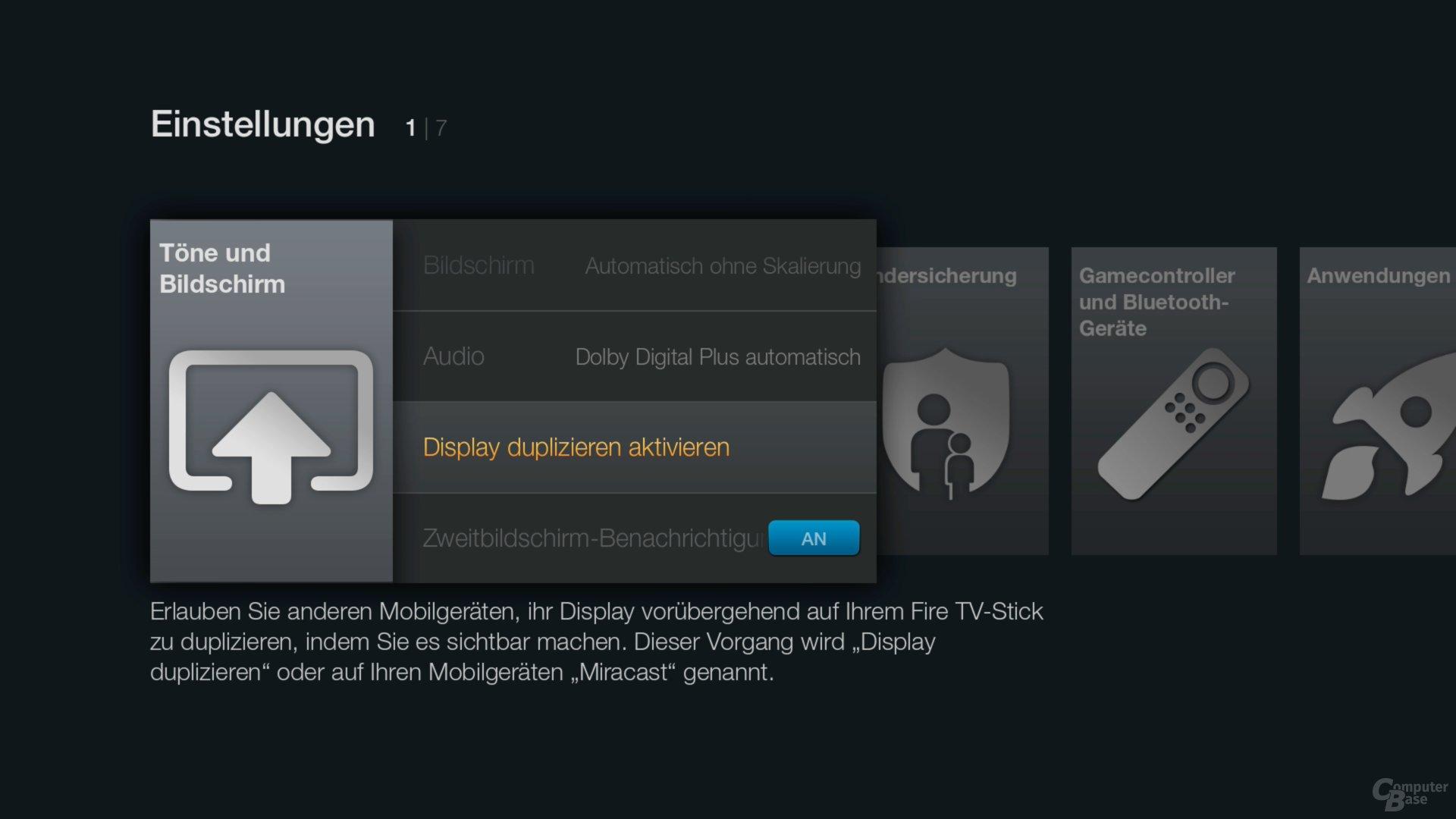 Amazon Fire TV Stick – Einstellungsmenü