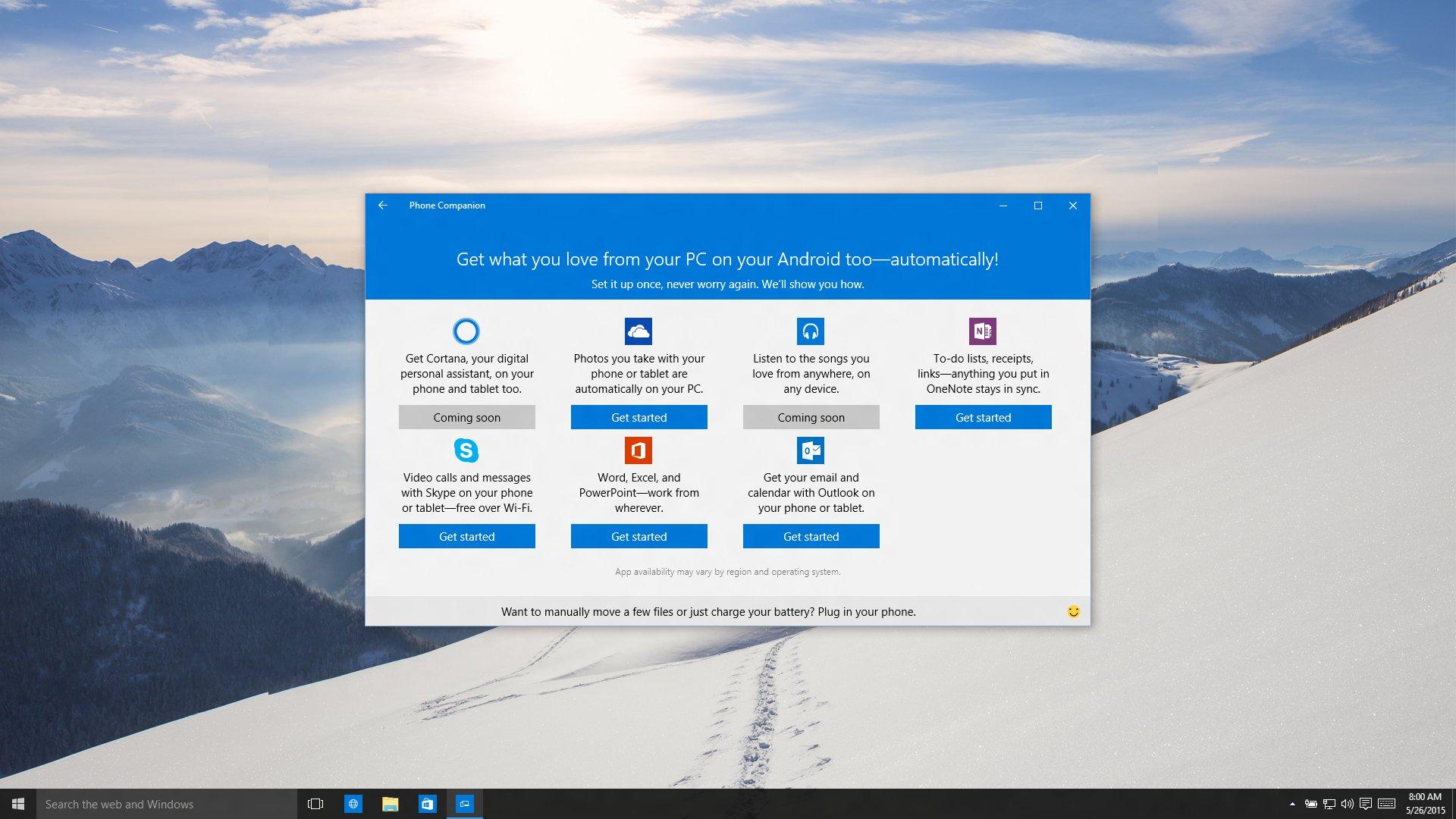 Die Companion-App installiert im Wesentlichen Apps von Microsoft