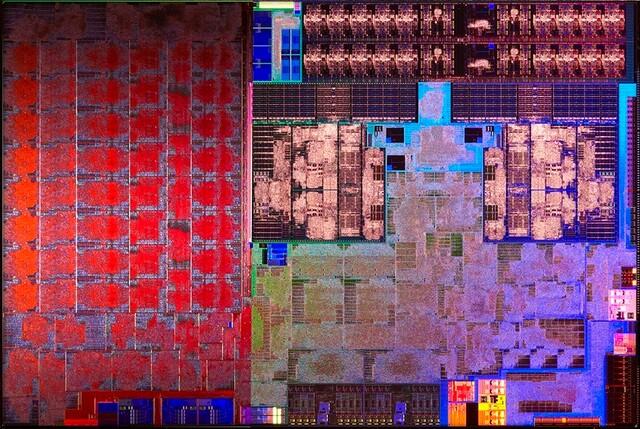 Carrizo-Die – links Grafik, rechts CPU + Chipsatz und Speichercontroller