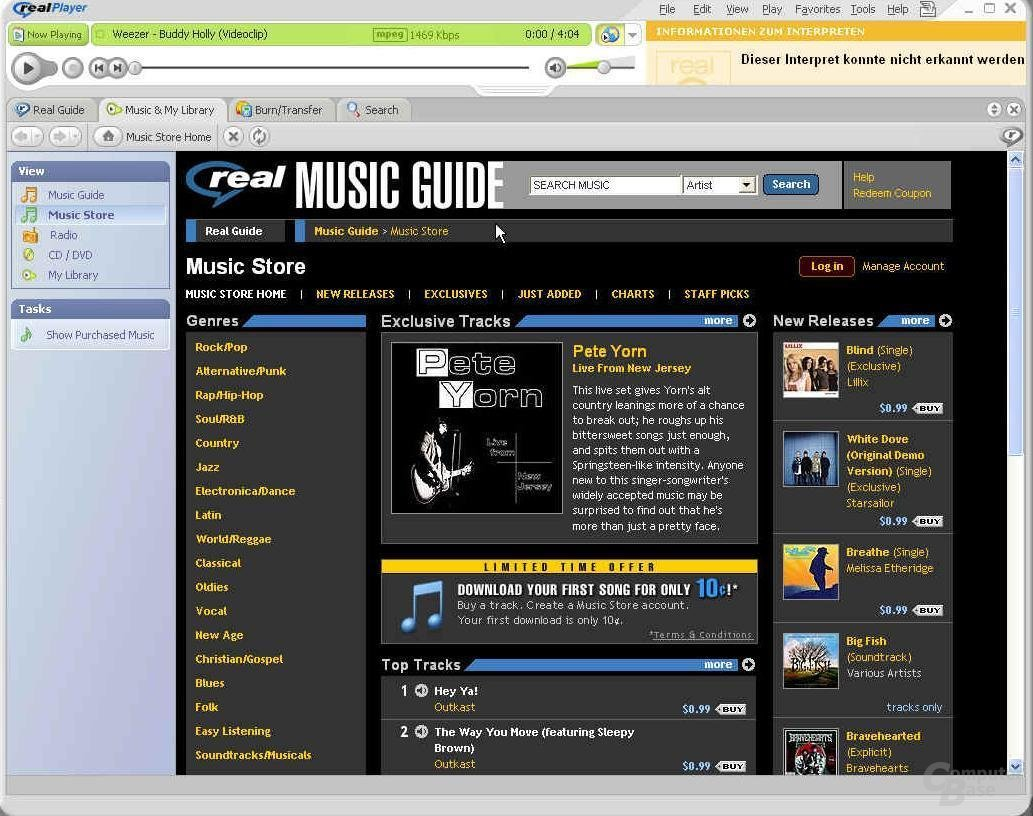 RealPlayer 10 Music Store