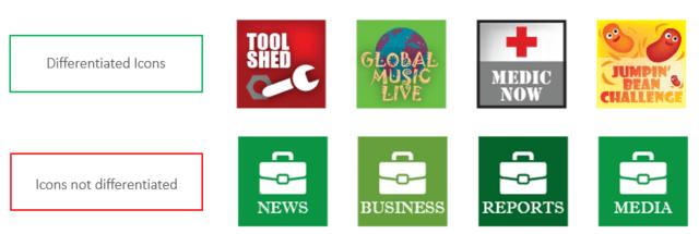 Unterscheidbarkeit verschiedener Apps