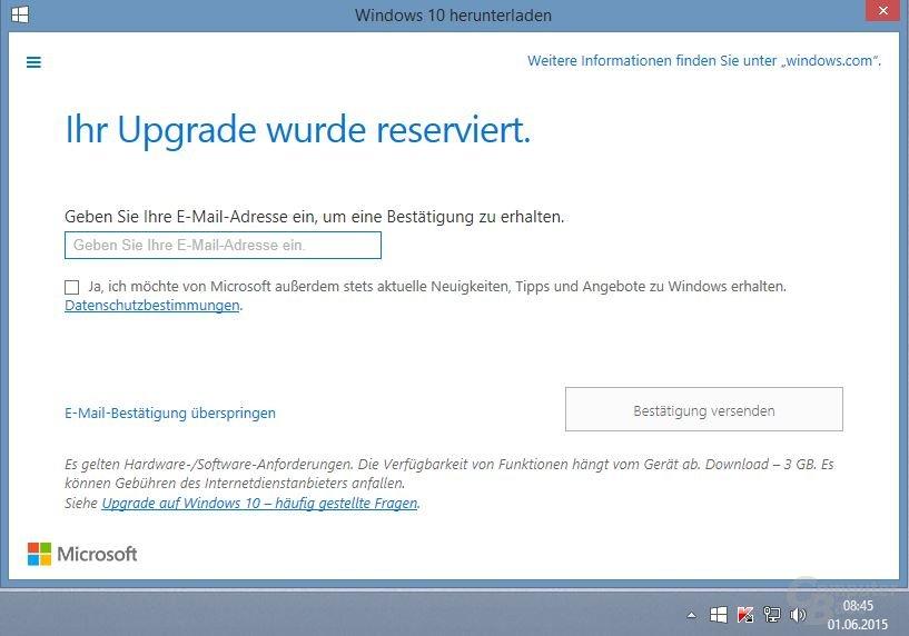 Microsoft informiert Anwender von WIndows 7/8/8.1 über Windows 10